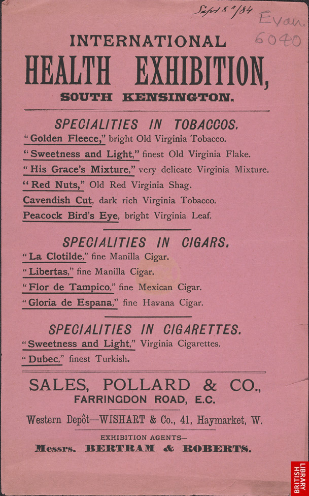 Advert for Sales, Pollard & Co, tobacco manufacturers 6040